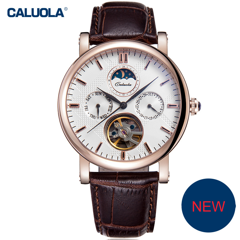 Caluola Automatic Watch Day-Date Business Men Watch Tourbillon Vintage CA1125M