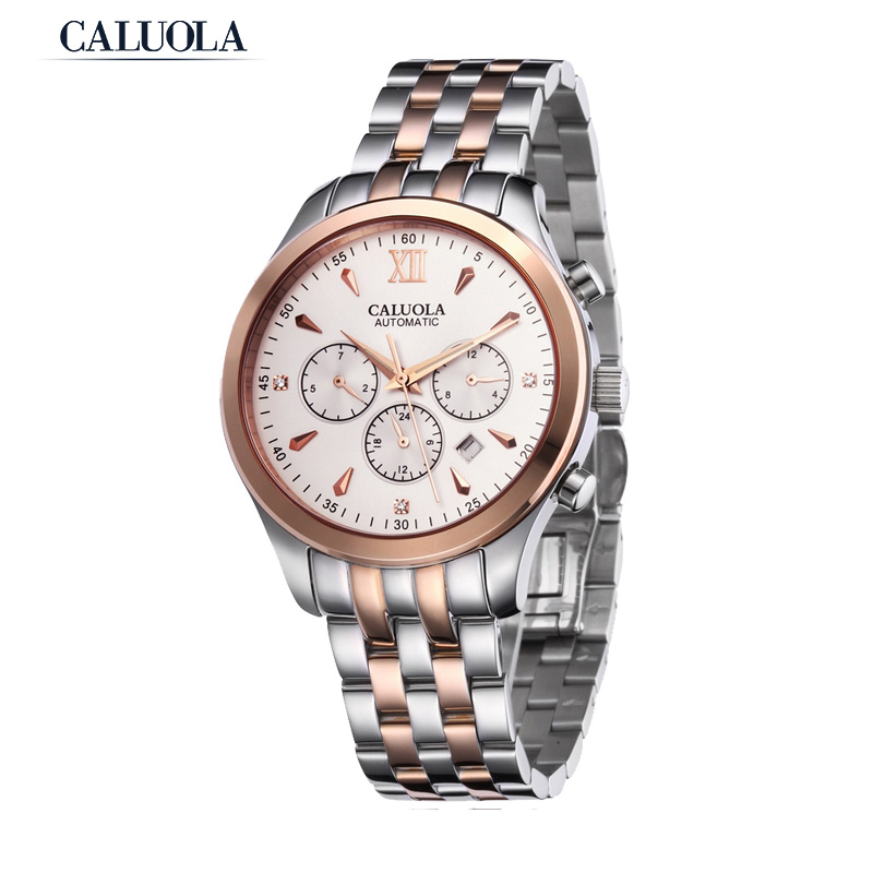 Caluola Business Men Watch Automatic Day-Date Month 24-Hour Luminous Sport Watch CA1013M1