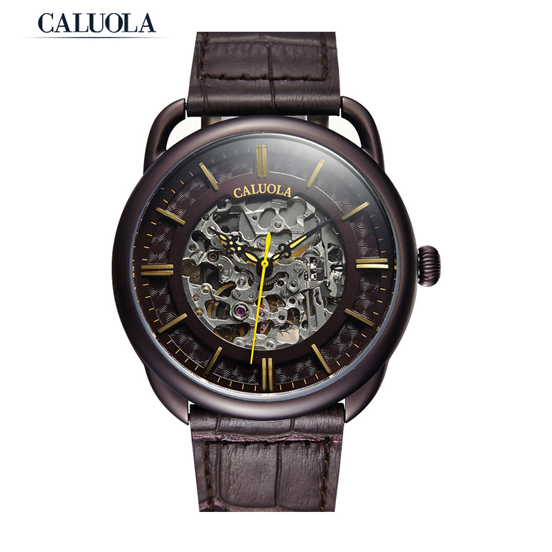 Caluola Men Watch Automatic Skeleton Fashion Watch Leather CA1061MM