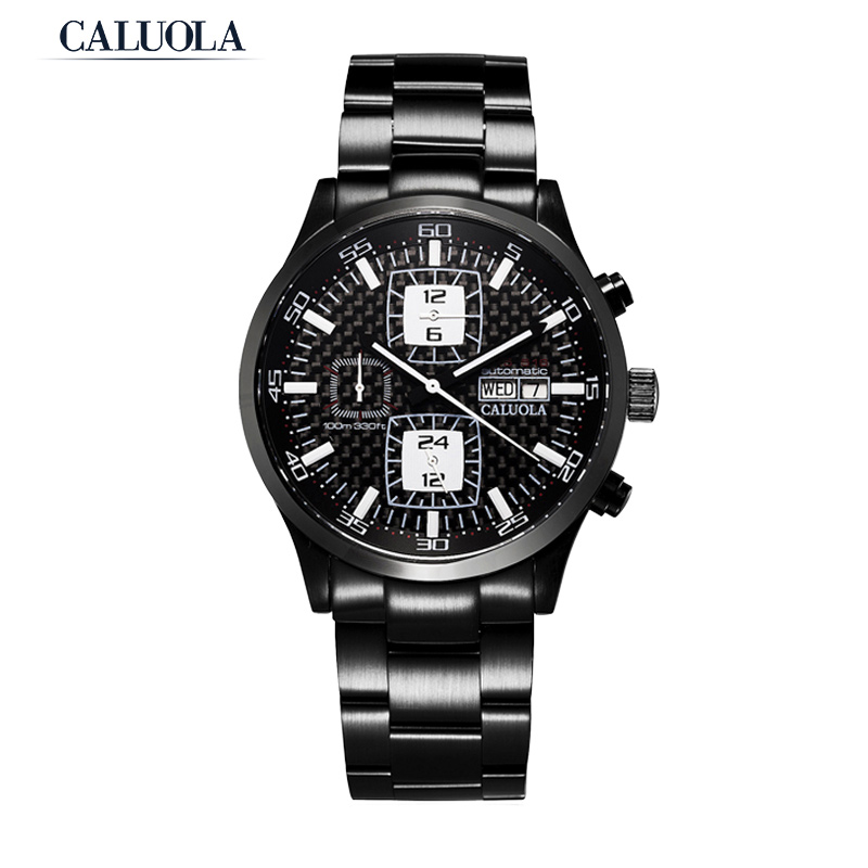 Caluola Automatic Watch Men Watch Day-Date Month 24-Hour Fashion Watch CA1118M1