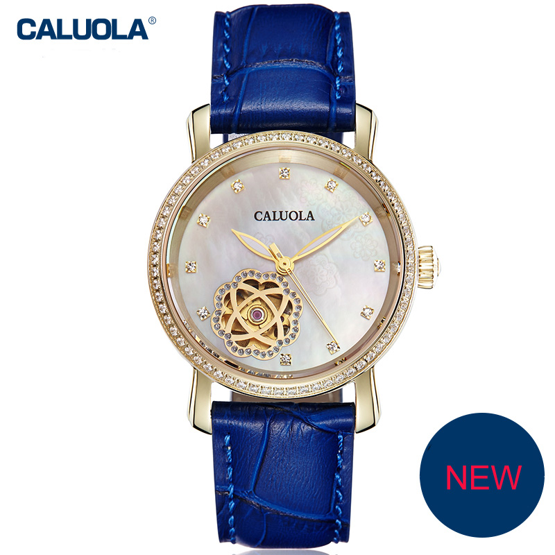 Caluola Automatic Women Watch Diamond Luminous Hollow Window Fashion Watch CA1142ML