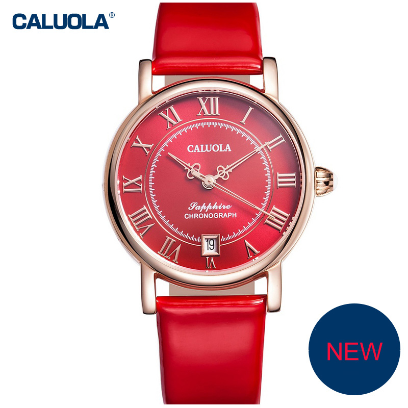 Caluola Automatic Watch Date Roman Numeral Vintage Women Watch Fashion CA1143ML