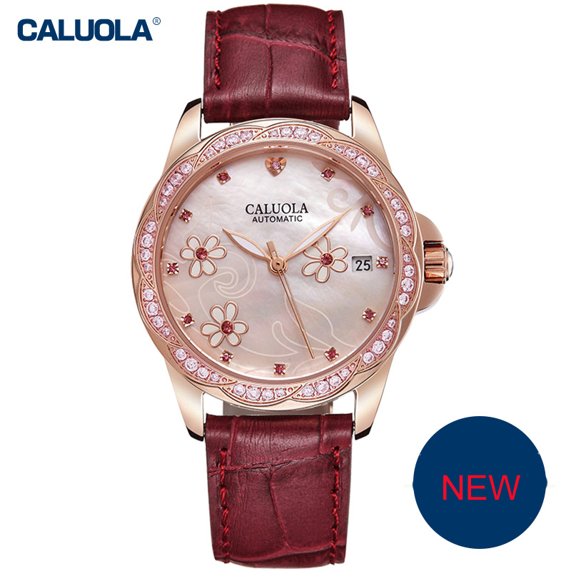 Caluola Fashion Watch Automatic Date Diamond Women Watch CA1193ML