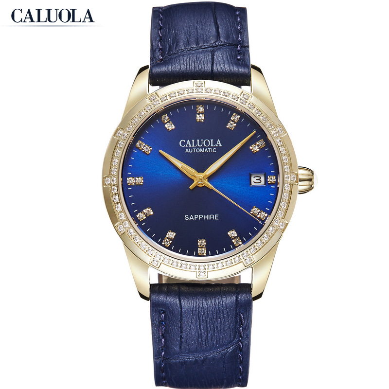Caluola Automatic Watch Diamond Date Luminous Fashion Watch Women Watch CA1202ML