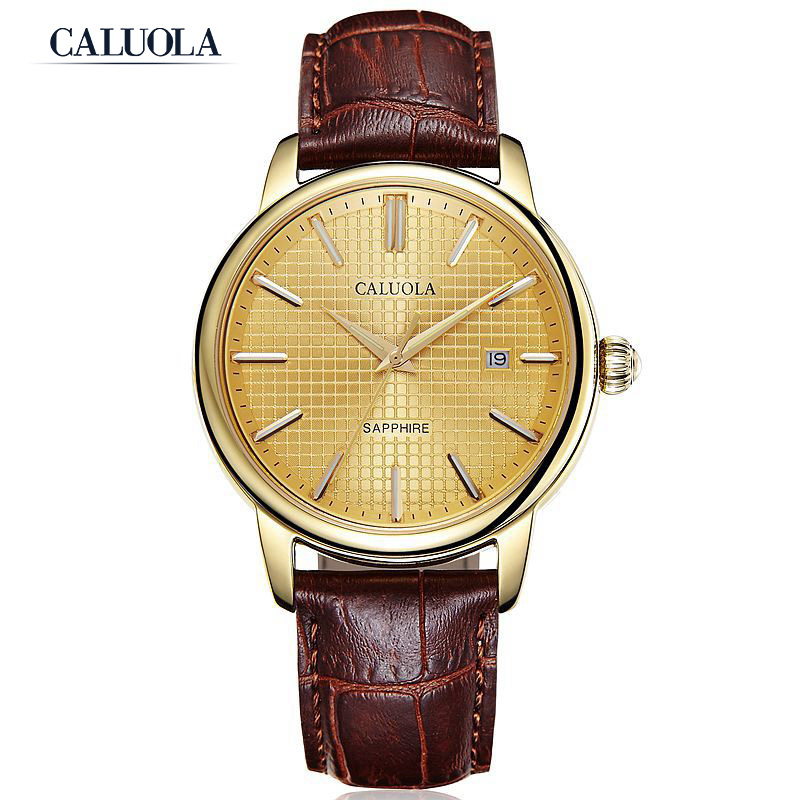 Caluola Men Watch Automatic Date Vintage Luminous Casual Watch Business CA1108MM