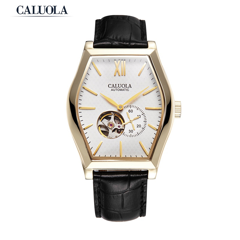Caluola Fashion Men Watch Automatic Tonneau Case Tourbillon Window Simple Business CA1134M