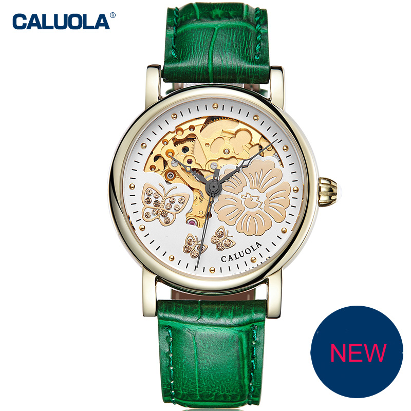 Caluola Automatic Watch Women Watch Fashion Skeleton Design Butterfly Pattern CA1165MM1