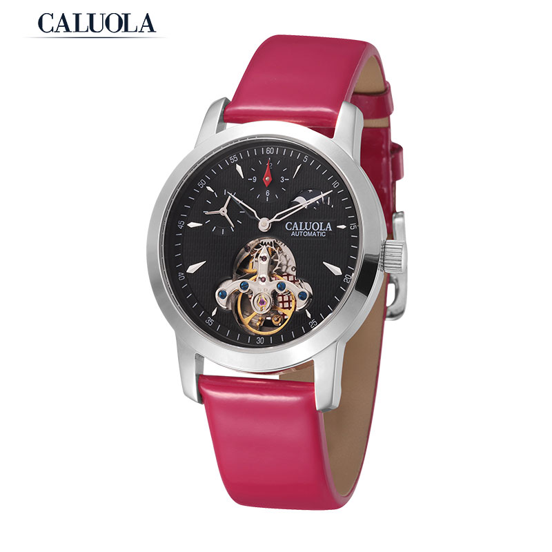 Caluola Fashion Watch Tourbillon Automatic MoonPhase Women Watch CA1021ML