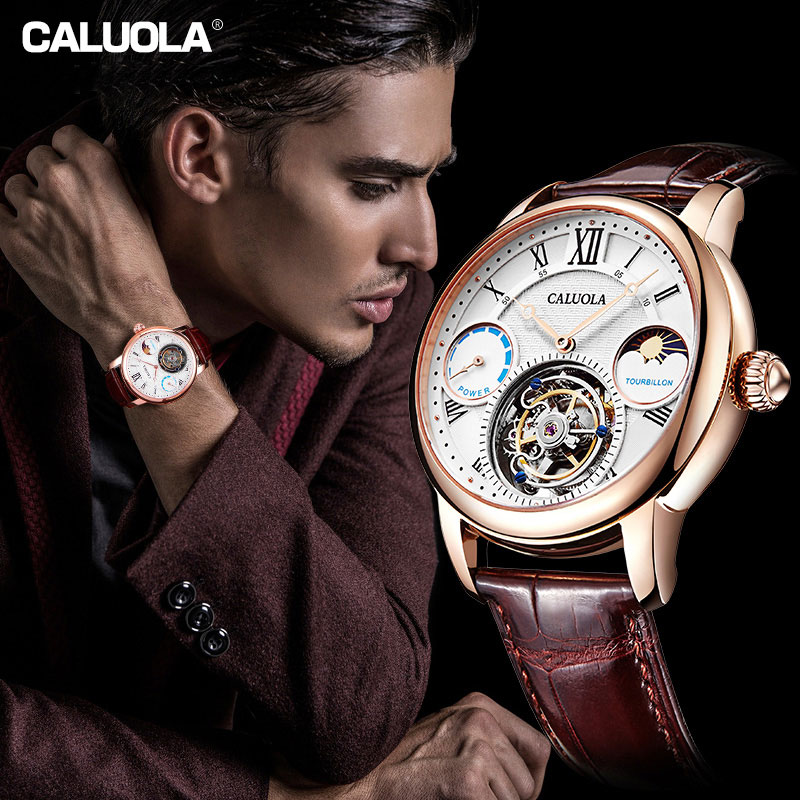 Caluola Tourbillon Watch Automatic Fashion Business Power Reserve MoonPhase Men Watch CA1188MM