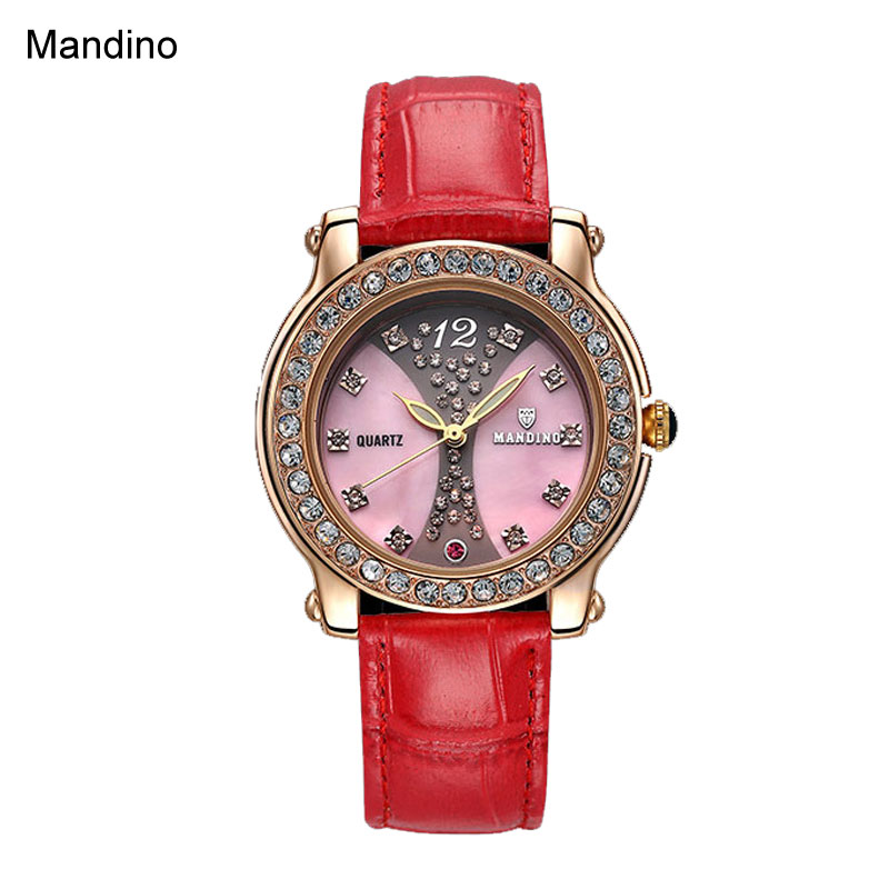 Mandino Quartz Watch Women Vintage Watch Diamond Fashion Leather Watch GNO18112