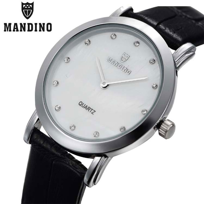 Mandino Quartz Simple Watch Men Watch Diamond Leather Business Watches 1806G