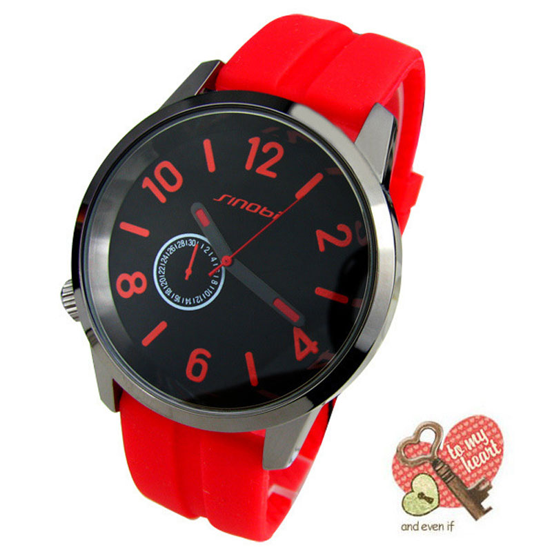 SINOBI Men Watches Sport Quartz Watch Candy Color Gift Watch Silicone Rubber