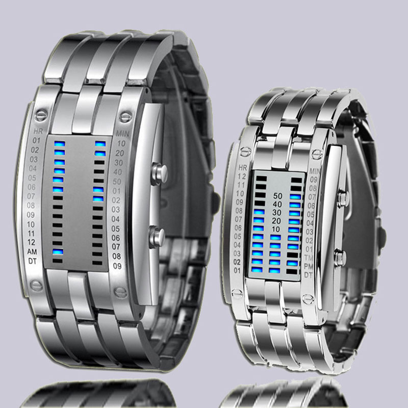 Creative Led Watch Binary Display Couple Watch Vintage Sport Date Luminous