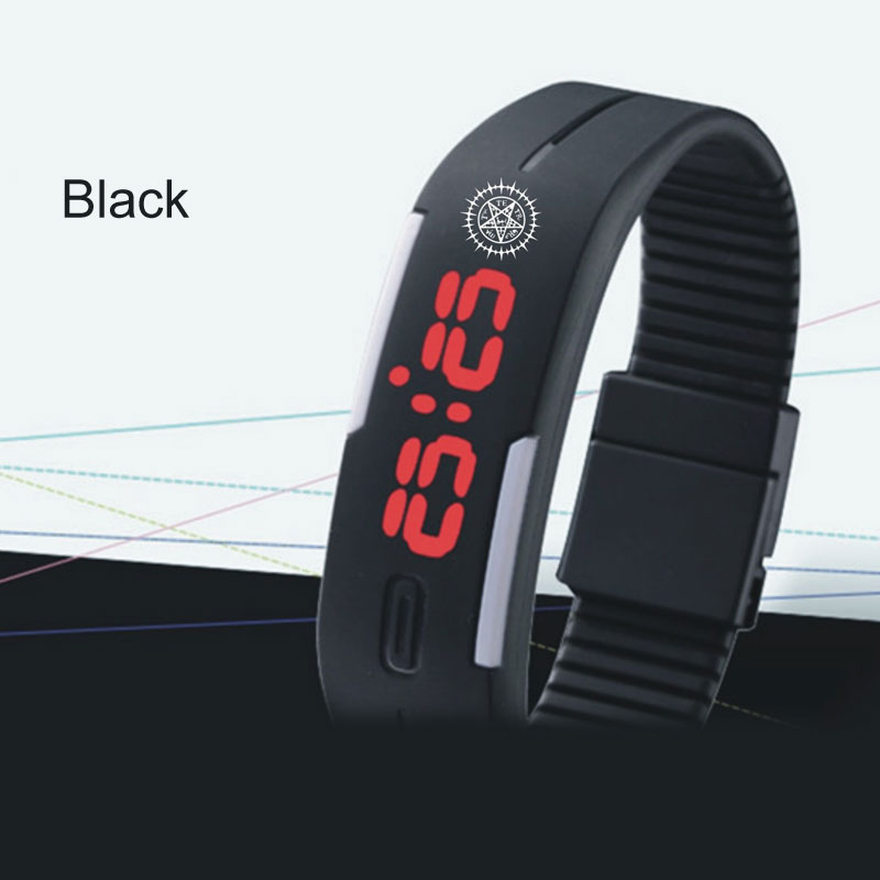 Fashion Black Butler Mark Led Watch Sport Children Watch Luminous Date