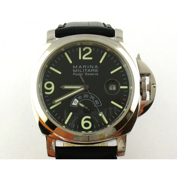 Parnis Marina Militare 44mm Power Reserve Auto Watch Date Steel Case Luminous