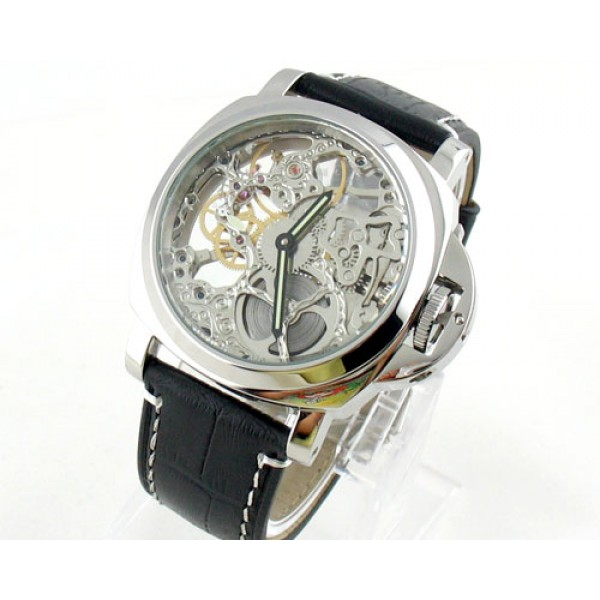 Parnis Marina Militare 44mm Skeleton Dial Hand Winding Watch Luminous