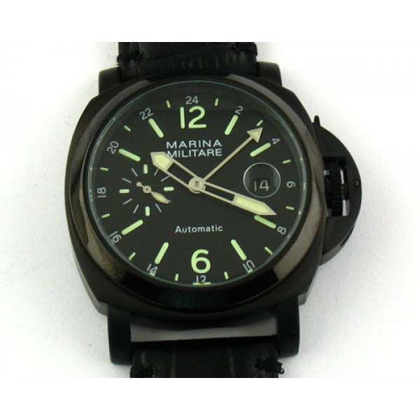 Parnis Marina Militare 44mm GMT Auto Watch PVD Case Luminous Date