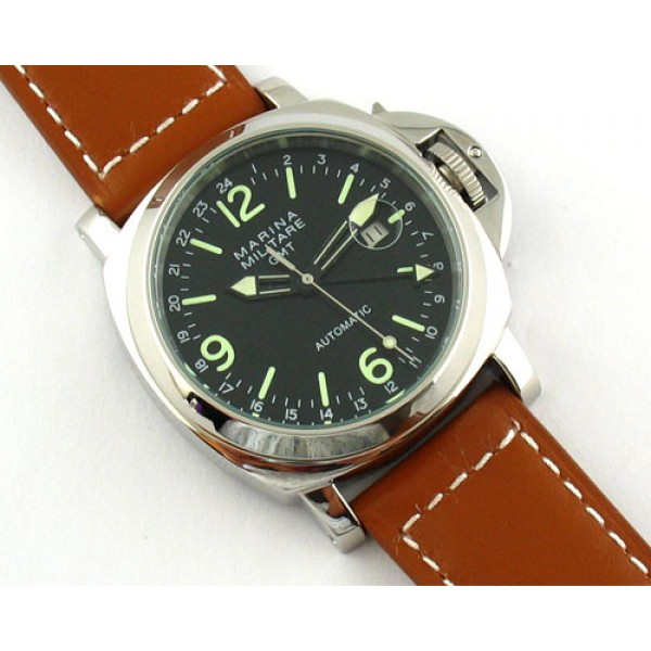 Parnis Marina Militare 44mm GMT II Automatic Watch Date Luminous