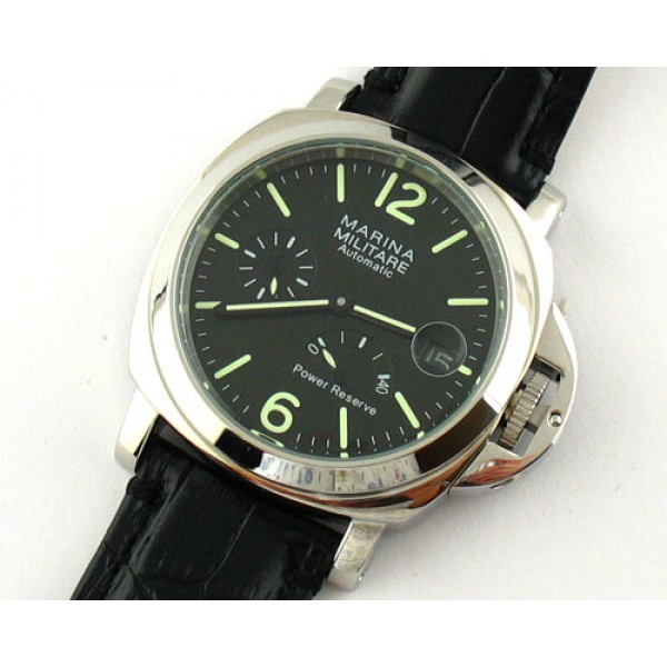 Parnis Marina Militare 44mm Auto Power Reserve Watch Date Luminous Leather Strap