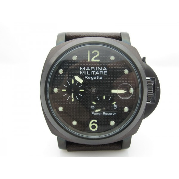 Parnis Marina Militare 44mm Power Reserve Watch Auto PVD Luminous Date Handmade Strap