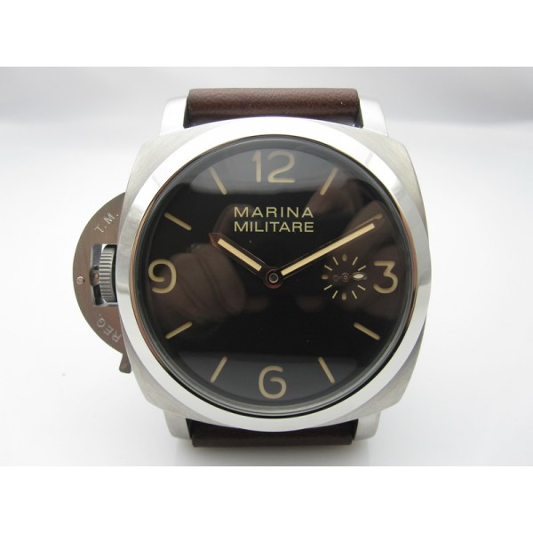 Parnis 47mm Marina Militare Lefty Manual Winding Watch Luminous Black Dial