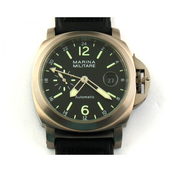 Parnis 44mm Marina Militare Titanium Auto Watch Luminous Date Small Second