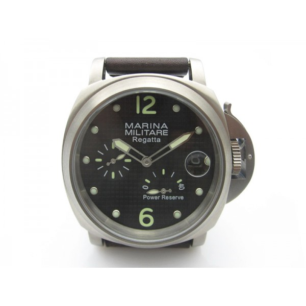 Parnis 44mm Militare Regatta Titanium Auto Watch Power Reserve Luminous Date Grid Dial