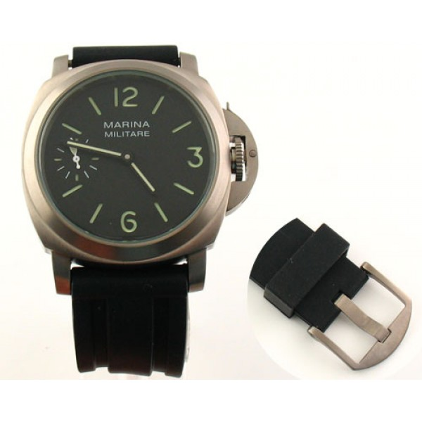 Parnis 44mm Marina Militare Titanium Watch 6497 Manual Winding Luminous Small Second