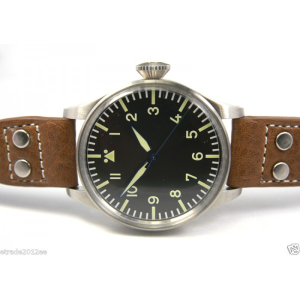 Parnis Jumbo 45MM Pilot Steel Watch Swiss ETA 2836 Auto Big Crown