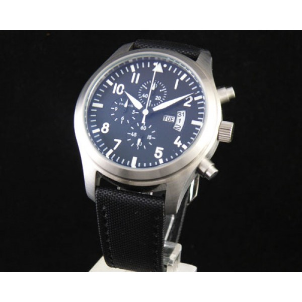 Parnis Chrono Quartz Watch 42MM Day-Date Steel Case Leather Strap White Markers