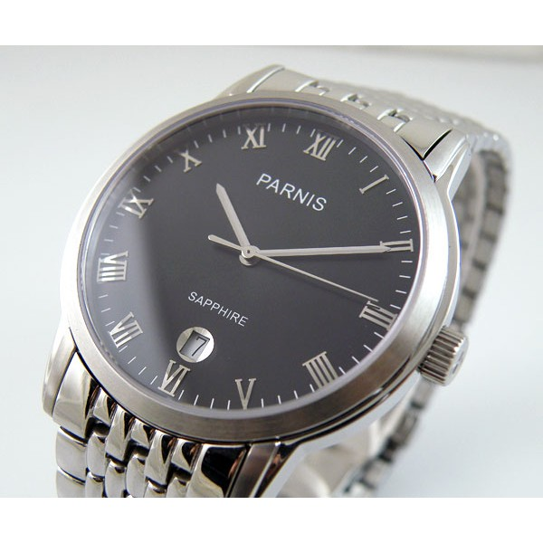 Parnis Swiss Quartz Watch Full Steel Date Roman Numeral Markers