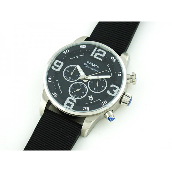 Parnis Quartz Watch 45MM Chrono Black Dial Rubber Strap Date