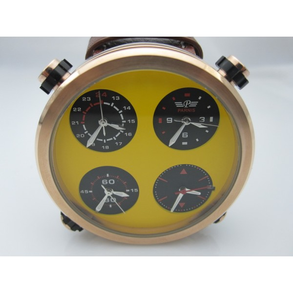 Parnis 48MM Quartz Chrono Men Watch Multiple Time Zone Yellow Dial Date Oversize