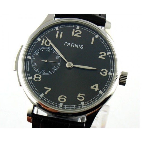 Parnis 44mm Special@9 Watch 6497 Manual Winding Arabic Numeral Markers