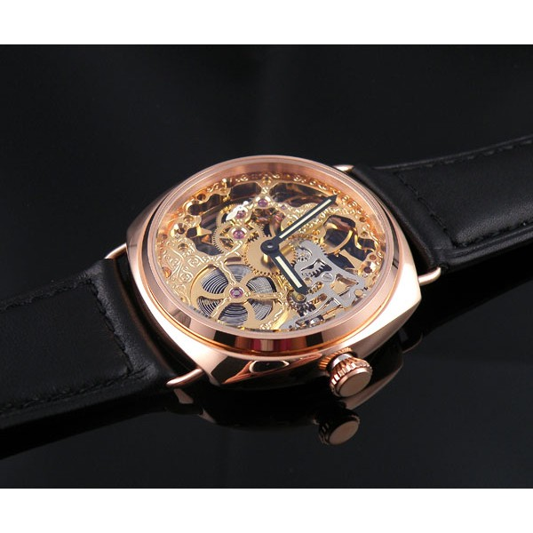Parnis 45mm Rose Gold Watch Mechanical 6497 Manual Winding Skeleton Dial