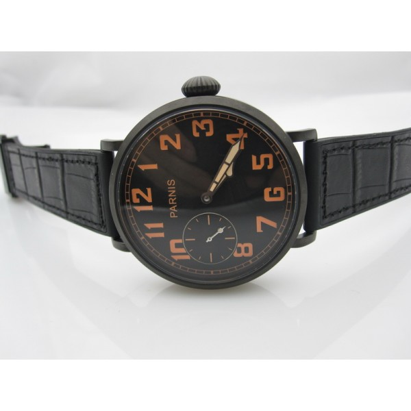Parnis 46mm Mechanical 6497 Manual Winding Watch Rubber Strap Black Dial