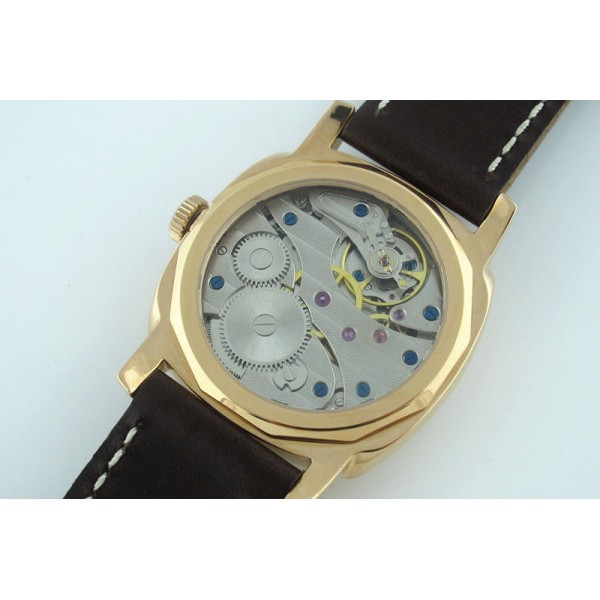 Parnis 46mm 3600 Manual Winding Yellow Gold Watch Leather Strap Men Watch