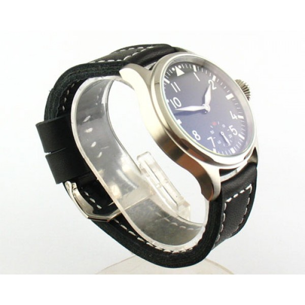 Parnis 47mm Special @6 6498 Manual Winding Watch Leather Strap Small Second