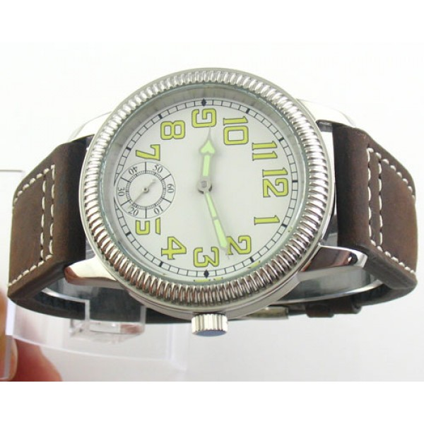 Parnis 44mm Special @6 6498 Manual Winding Watch Leather Strap Luminous