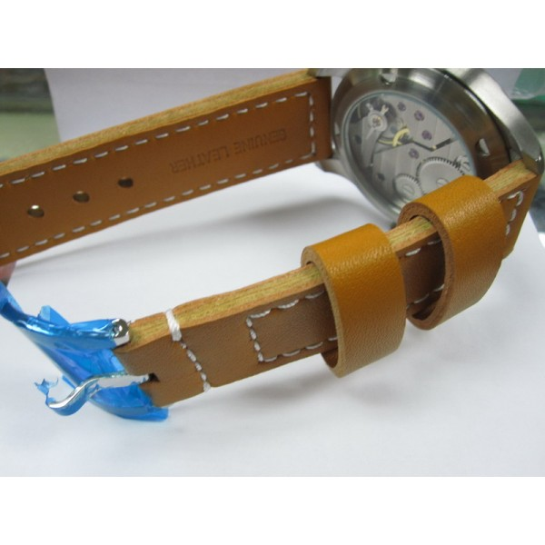 Parnis 47mm Lefty Watch 6497 Manual Winding Leather Strap Luminous
