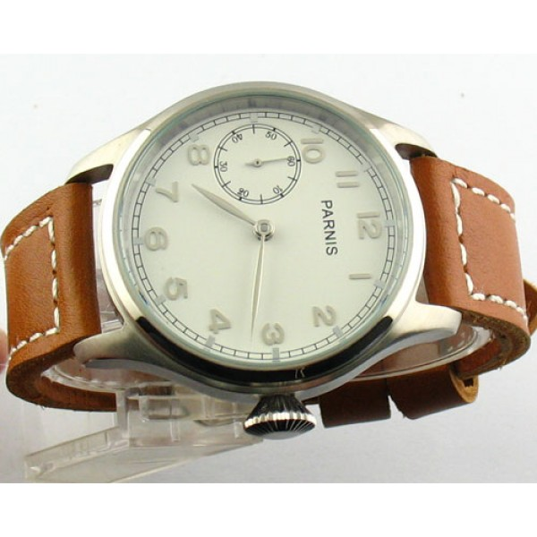 Parnis 47mm Special@9 Watch 6497 Manual Winding Men Watch Silver Hand Leather