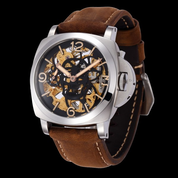 Parnis 47mm Hollowing Skull Style 6497 Manual Winding Watch Gold Hand Luminous