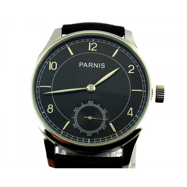Parnis 44mm 6498 Manual Winding Watch Special@6 Silver Hand Men Watch