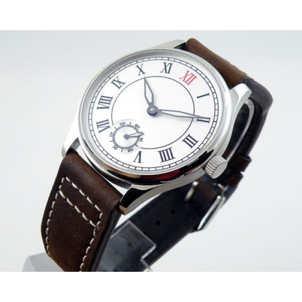 Parnis 44mm 6498 Manual Winding Watch White Dial Roman Numeral Markers