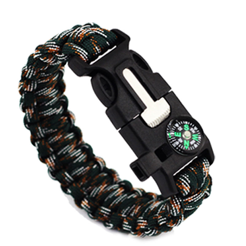 EK Survival Compass Bracelet Outdoor Rescue Kits Whistle Paracord Wristband Flint Fire Starter EM-0112
