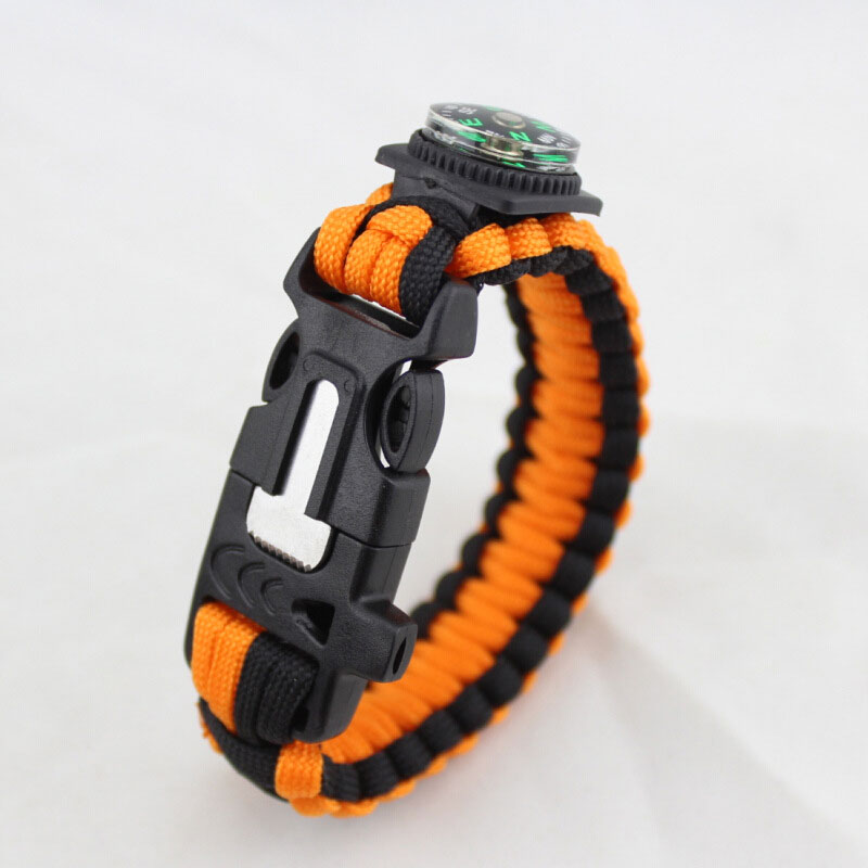 Survival Paracord Wristband Handmade Compass Bracelet Outdoor Rescue Kits Whistle Flint Fire Starter