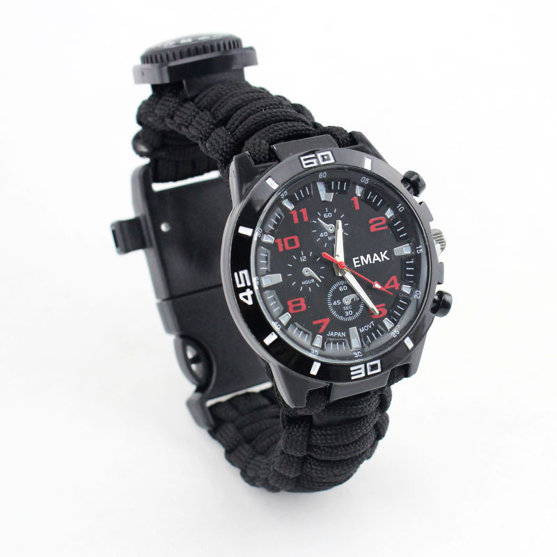 Outdoor Camping Travel Watch 16 in 1 With Compass Flint Paracord Rescue Whistle Survival Kits