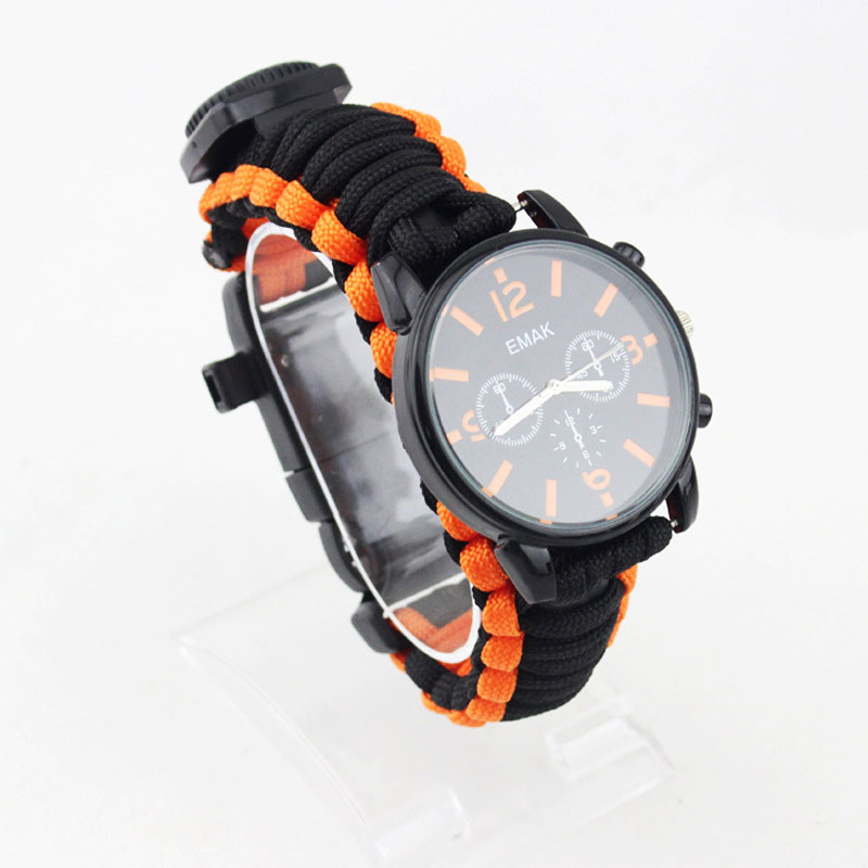 Outdoor Travel Camping Watch 16 in 1 Sport Watch Compass Flint Paracord Whistle Survival Kits