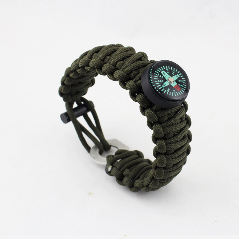 550 7 Feet Survival Paracord Wristband Compass Bracelet Outdoor Survival Kits Whistle Flint