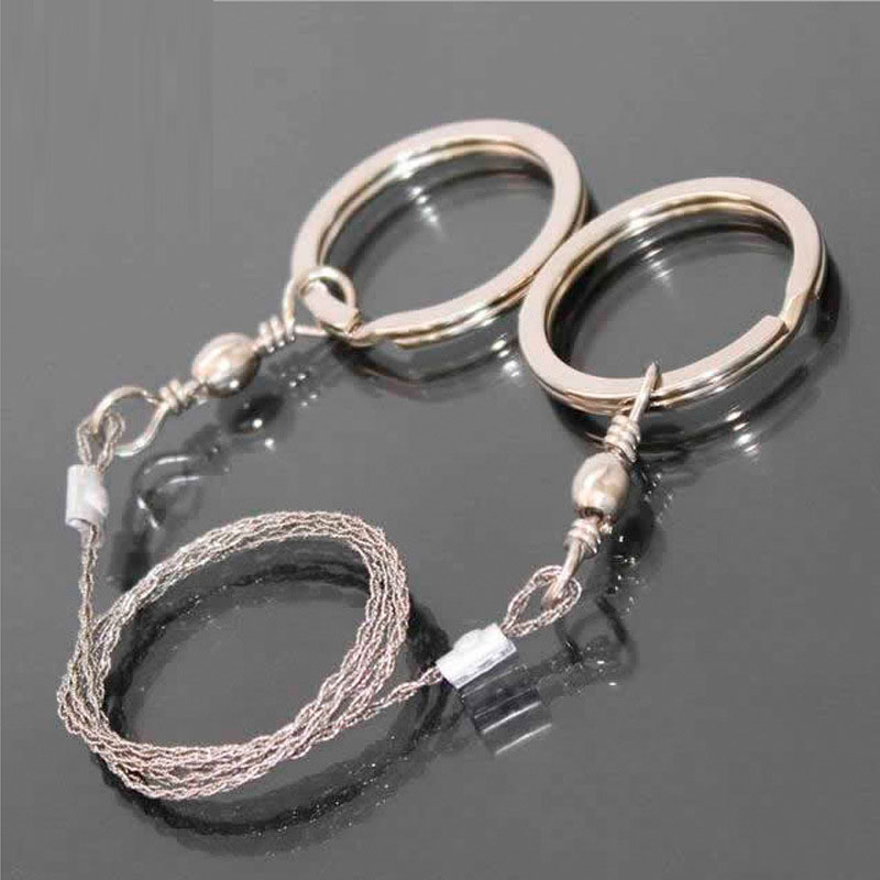 Stainless Steel Wire Saw Camping Hiking Hunting Survival Tools 360 Degree Rotation Ring